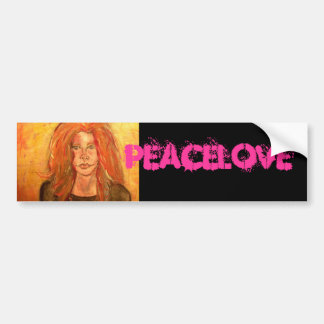 hippie girl PeaceLove Bumper Sticker