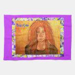 hippie girl PeaceLove drip Towels