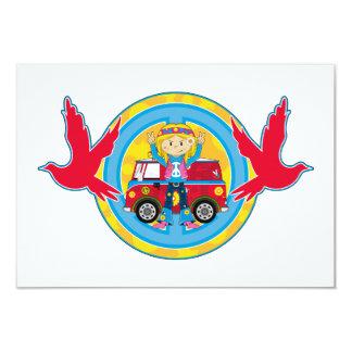 Hippie Girl with Camper Van & Doves 9 Cm X 13 Cm Invitation Card