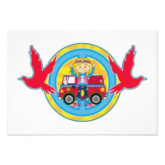 Hippie Girl with Camper Van & Doves Custom Announcements