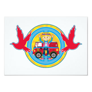 Hippie Girl with Camper Van & Doves 9 Cm X 13 Cm Invitation Card