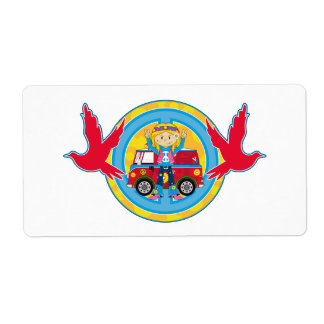 Hippie Girl with Camper Van & Doves Shipping Label