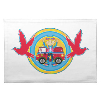 Hippie Girl with Camper Van & Doves Placemat