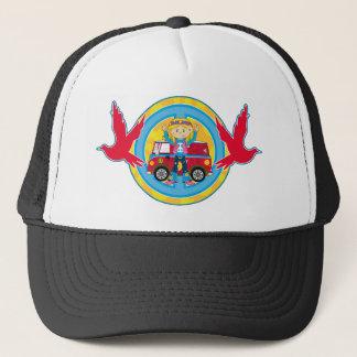 Hippie Girl with Camper Van & Doves Trucker Hat