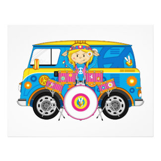 Hippie Girl with Drums and Camper Van 21.5 Cm X 28 Cm Flyer