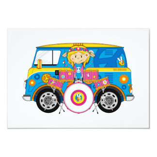 Hippie Girl with Drums and Camper Van 9 Cm X 13 Cm Invitation Card