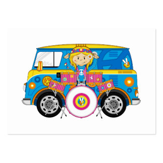Hippie Girl with Drums and Camper Van Business Cards