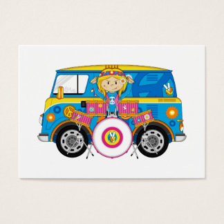 Hippie Girl with Drums and Camper Van Business Card