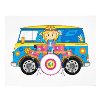 Hippie Girl with Drums and Camper Van 21.5 Cm X 28 Cm Flyer