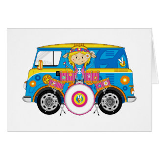 Hippie Girl with Drums and Camper Van Greeting Card