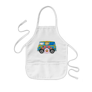 Hippie Girl with Drums and Camper Van Kids Apron