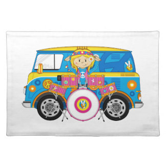 Hippie Girl with Drums and Camper Van Placemat