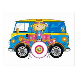 Hippie Girl with Drums and Camper Van Postcard