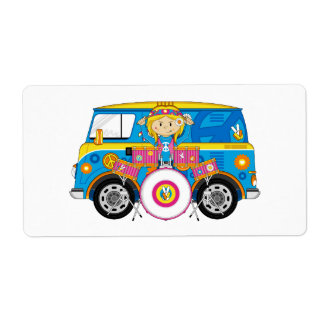 Hippie Girl with Drums and Camper Van Shipping Label