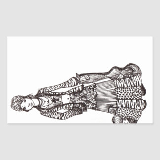 Hippie Girl with Guitar Art Custom Products Rectangular Sticker