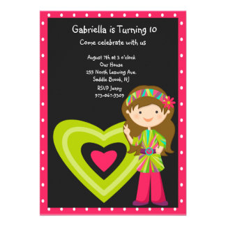 Hippie Girl with Large Heart Girls Invite