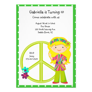 Hippie Girl with Peace Sign Girls Invite