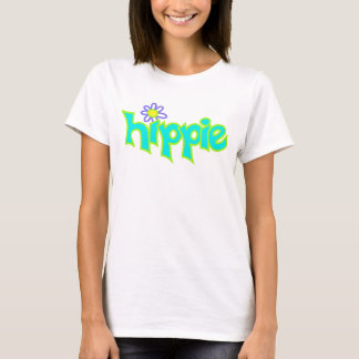 Hippie Graphic Turquoise Lime Green Word Art T-Shirt