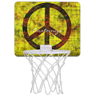 hippie groovy 70's peace symbol yellow mini basketball hoop