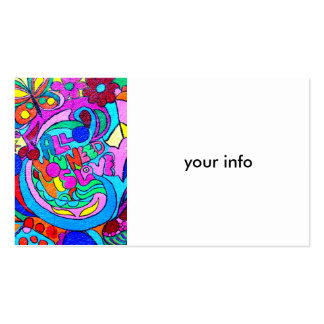 hippie groovy peace and love pack of standard business cards