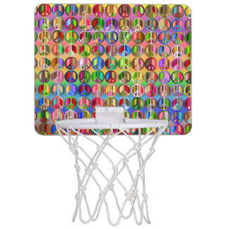 hippie groovyThunder_Cove peace symbols Mini Basketball Hoop