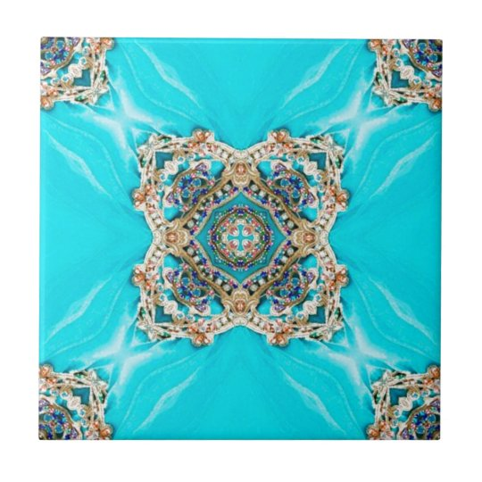 Hippie Gypsy Ethnic turquoise aqua blue bohemian Tile