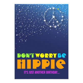 Hippie Happy 75th Birthday Peace Party Invitations