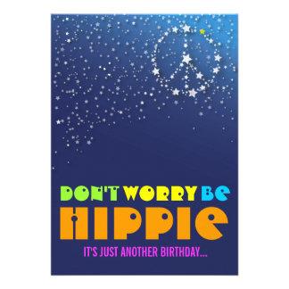 Hippie Happy 90th Birthday Peace Party Invitations