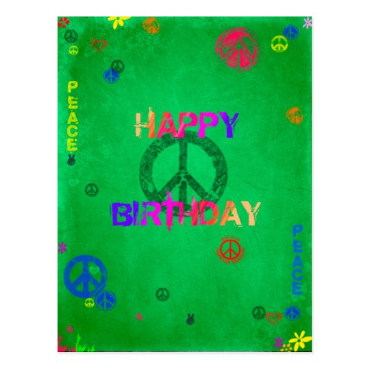 Hippie Happy Birthday Card