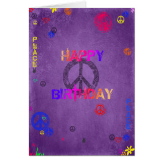 Hippie Happy Birthday Card Purple
