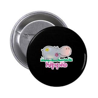 hippie hippo 6 cm round badge