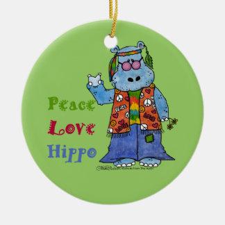 Hippie Hippo-Peace, Love, Hippo Round Ceramic Decoration