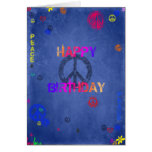 Hippie Hippy Birthday Card Blue