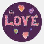 Hippie Love 60s Round Sticker