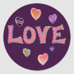 Hippie Love 60s Round Stickers