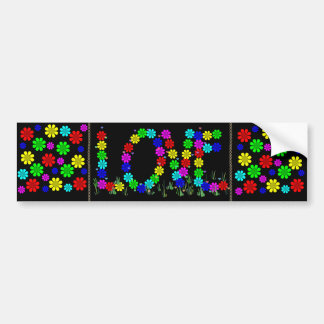 Hippie Love Flowers Bumper Sticker