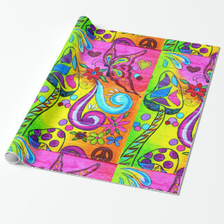hippie magic mushroom wrapping paper