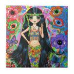 Hippie Mermaid Girl with Eye Flowers & Butterflies Tile