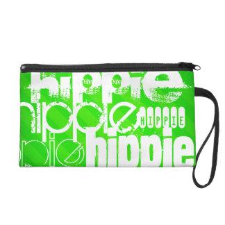 Hippie; Neon Green Stripes Wristlet Clutch