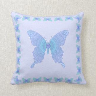 Hippie Peace Butterfly purple aqua on lavender Cushion