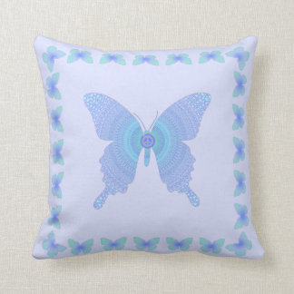 Hippie Peace Butterfly purple aqua on lavender Throw Pillow