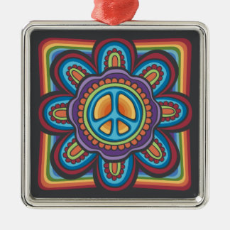 Hippie Peace Flower Christmas Ornament