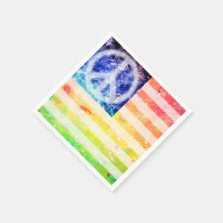 Hippie Peace Freak Flag Disposable Serviettes