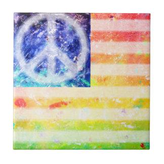 Hippie Peace Freak Flag Small Square Tile