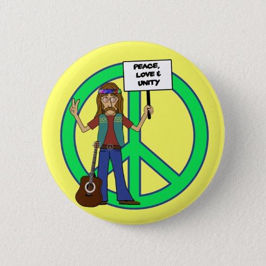 Hippie Peace Love and Unity 6 Cm Round Badge