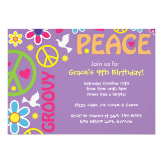 Hippie Peace Sign 60 s theme party invites