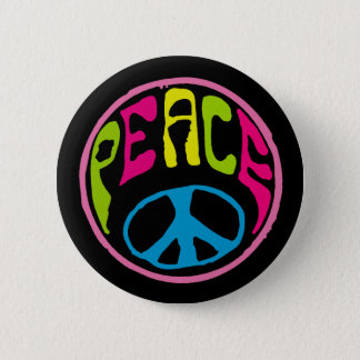 Hippie Peace Sign 6 Cm Round Badge