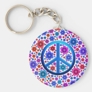 Hippie Peace Sign Basic Round Button Key Ring