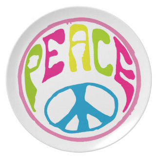 Hippie Peace Sign Dinner Plate