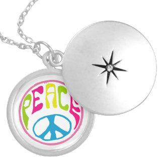 Hippie Peace Sign Locket Necklace